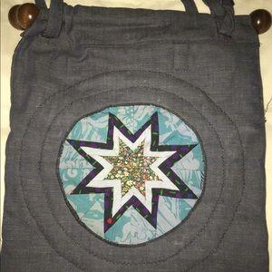 Handmade patchwork denim bag double sided